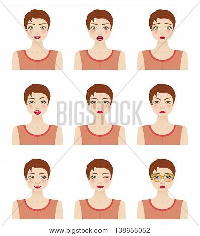Attractive girl showing different facial expressions. Vector illustration.