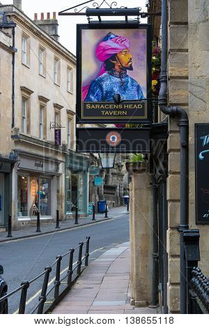 BATH SOMERSET UK - JULY 15 2016 Saracens Head Tavern Public House. Pub on Broad Steet in the UNESCO World Heritage City of Bath in Somerset England