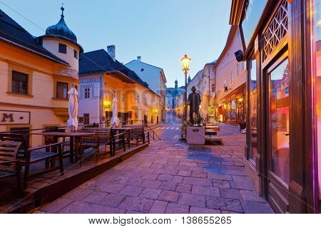 BANSKA STIAVNICA, SLOVAKIA - JUNE 08, 2016: Streetin the old toawn of Banska Stiavnica on une 08, 2016.