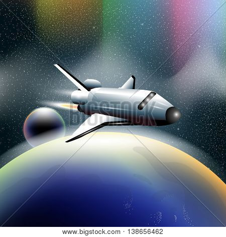 Shuttle in space flying from planet earth orbiting a blue planet. Digital vector image.
