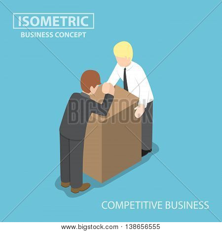 Isometric Businessman With His Rival Doing Arm Wrestling