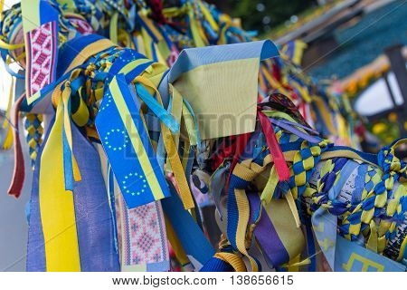 Ribbons with the symbols of Ukraine and the European Union