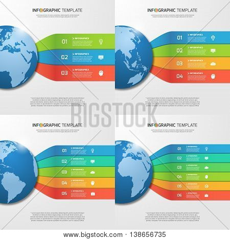 Infographic Templates With Globe With 3, 4, 5, 6 Options, Parts, Steps, Processes For Graphs, Charts