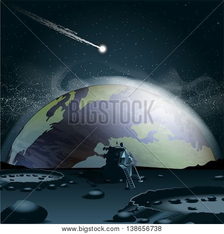 Big planet earth seen from the moon in 3d over a background full of glowing stars and a falling asteroid or comet. Digital vector image