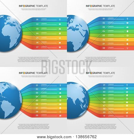 Infographic Templates With Globe With 7, 8, 9, 10 Options, Parts, Steps, Processes For Graphs, Chart