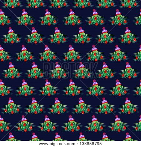 Seamless Vector Pattern With Snowflakes And Trees