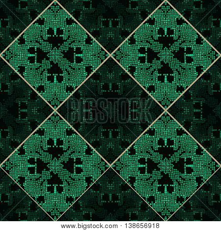 Patchwork emerald green tone colors pattern ornament for textile fabric. Patch tile seamless pattern.