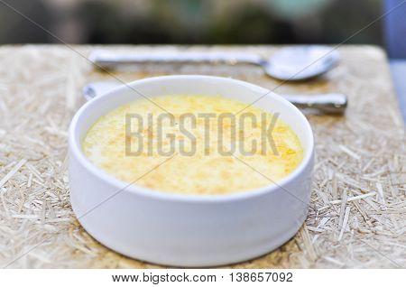 creme brûlée or creme brulee cup on the table