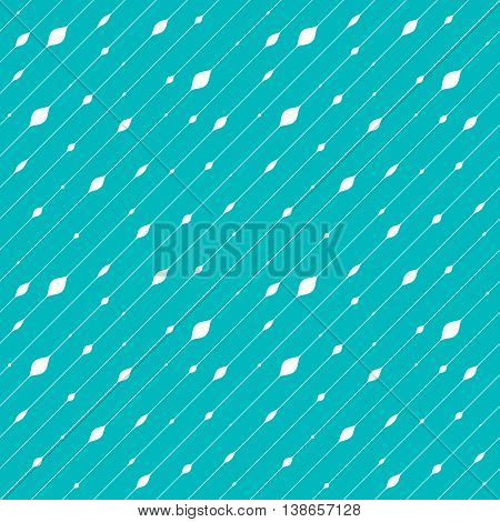 White Diagonal Thin Stripes with White Beads. Vector Seamless Pattern. Blue Laconic Background. Geometric Abstract Texture.