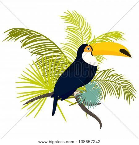 Toucan bird vector illustration for tshirt apparel design. Exotic bird sitting on branch with tropic palm leaves composition. Shirt vector design.