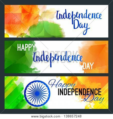 Horizontal Web Banners Concept on Indian Independence Day. Vector Holiday Backgrounds with Hand Lettering Greetings, Ashoka Wheel and Colorful Splashes in Green, White and Orange Colors.