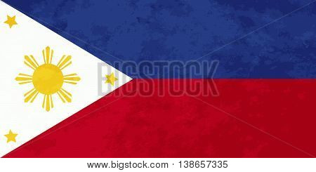 True proportions Philippines flag with grunge texture