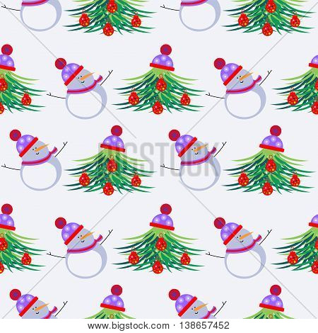 Seamless Vector Pattern With Snowmen