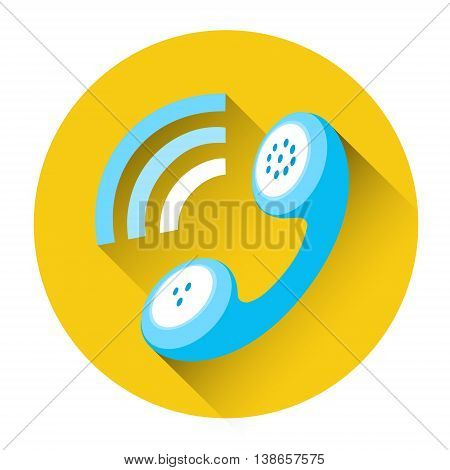 Phone Receiver Outgoing Call Icon Flat Vector Illustration