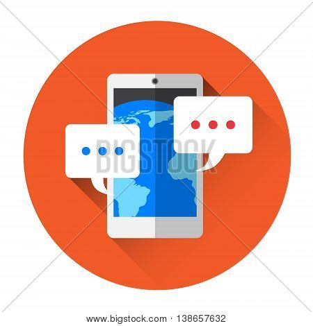 Modern Cell Smart Phone With Chat Bubble Message Sms Icon Flat Vector Illustration