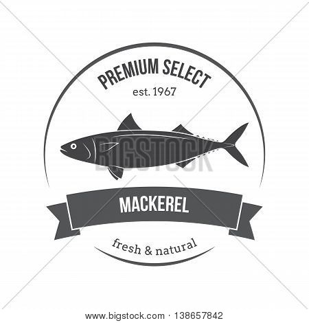 Vector Mackerel, Scomber Emblem, Label. Template For Stores, Markets, Food Packaging. Seafood Illust
