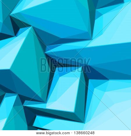 Poster with abstract blue ice cubes and posterized colors