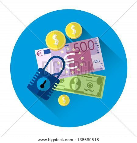 Money Cash With Lock Security Concept Colorful Icon Flat Vector Illustration