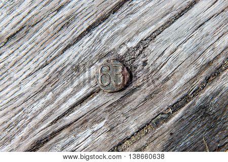 Metal Date Nail Embedded in Railway Tie