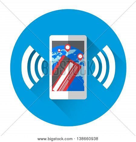 Mobile Payment Cell Smart Phone With Credit Card Icon Flat Vector Illustration