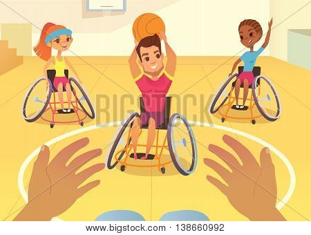 Handisport. Boys and girls in wheelchairs playing baysball in a school gym. Handicap First-person view. Caring for the disabled people children. Medical rehabilitation concept.