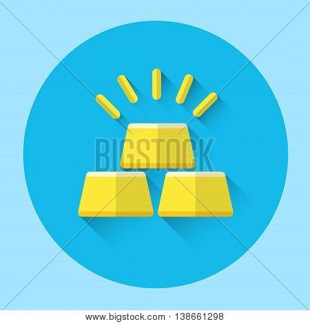 Gold Bricks Colorful Icon Flat Vector Illustration