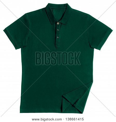 Green polo shirt isolated on white background