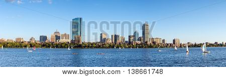 Panorama View Of Boston Skyline In Summer