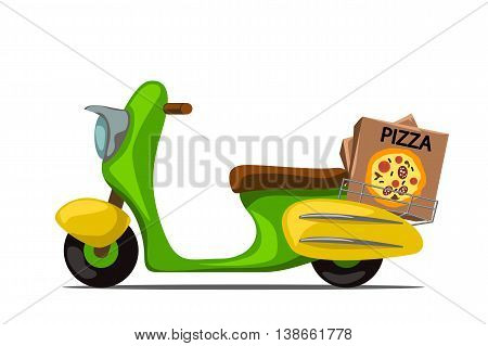 illustration of colorful scooter delivery with pizza box on white background
