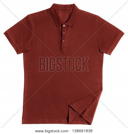 Red polo shirt isolated on white background