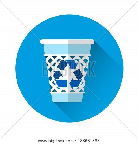 Rubbish Bin Recycle Colorful Icon Flat Vector Illustration