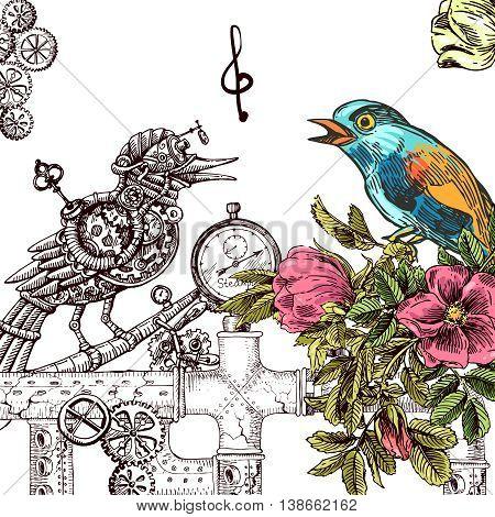 Beautiful hand drawn vector  illustration bird and mechanical bird. Boho style drawing.