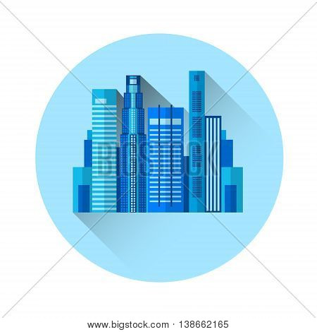 Office Building Exterior Colorful Icon Flat Vector Illustration