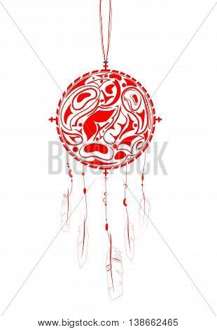 Red Dream Catcher with indigenous pattern and ornament