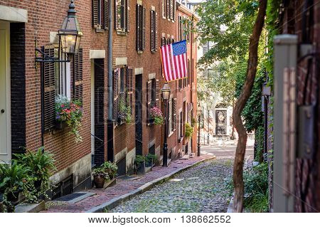 View Of Historic Acorn Street In Boston