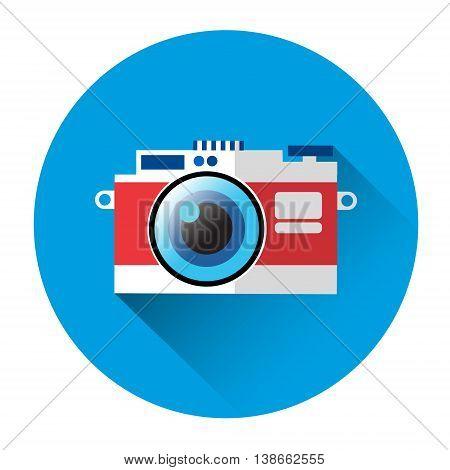 Photo Camera Icon Photography Flat Design Vector Illustration