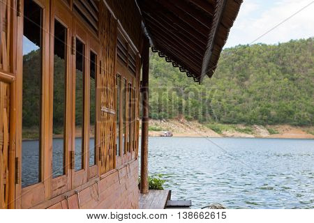 beautiful floating cottage house Rafting in river kwai, Karnchanaburi