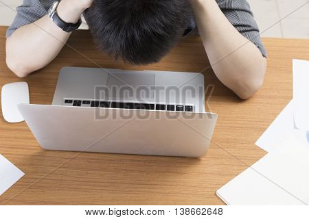 Man With Laptop Computer - Frustrate, Stress, Upset Concept