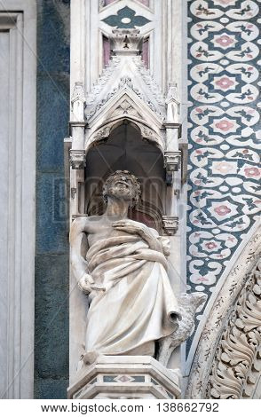 FLORENCE, ITALY - JUNE 05: Abraham, Portal of Cattedrale di Santa Maria del Fiore (Cathedral of Saint Mary of the Flower), Florence, Italy on June 05, 2015