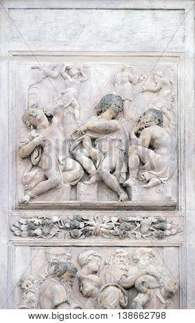 BOLOGNA, ITALY - JUNE 04: Joseph interprets the dreams by Nicholas Tribolo, right door of San Petronio Basilica in Bologna, Italy, on June 04, 2015