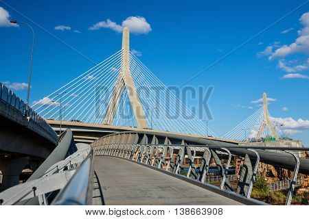 The Zakim Bridge  With Blus Sky In Boston