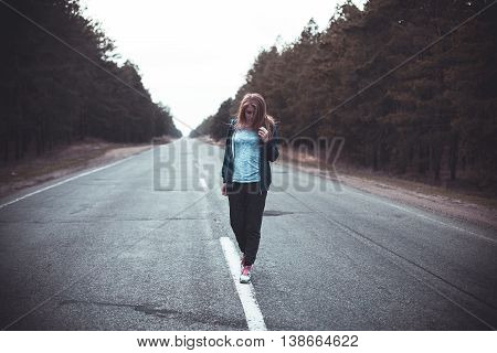 Girl On A Road