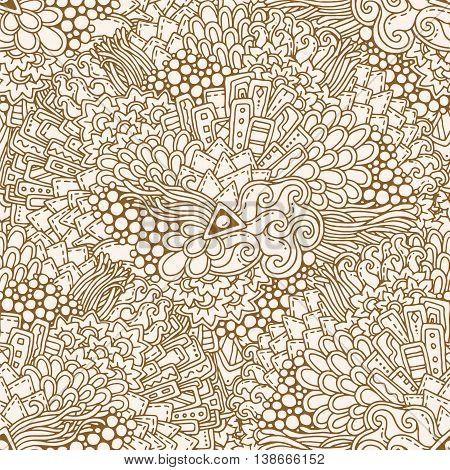 Seamless grunge ethnic floral retro doodle background pattern in vector. Henna paisley mehndi doodle design tribal pattern. Abstract pattern with circles, waves, triangles, geometrical shapes