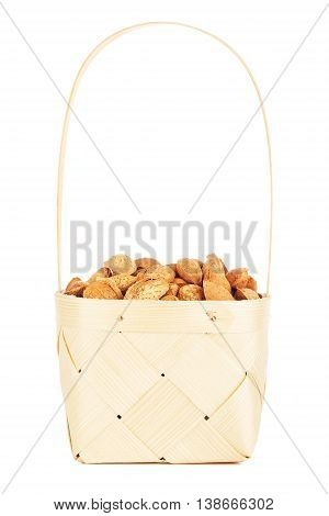 almonds nuts in wooden, isolated on white background