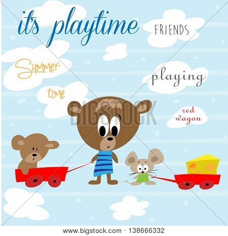 It's playtime - cute teddy bear and his friends playing in vector illustration