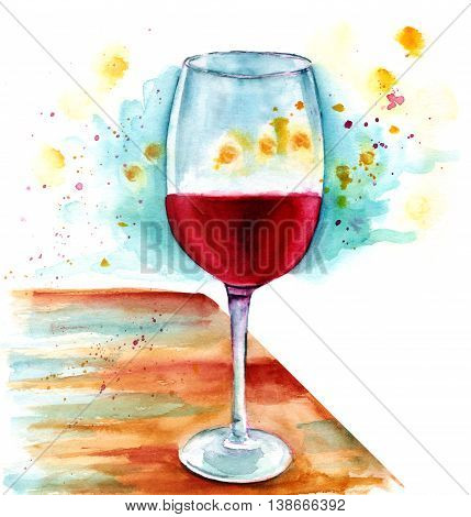 A watercolor painting of a glass of wine on a wooden table with golden lights around it
