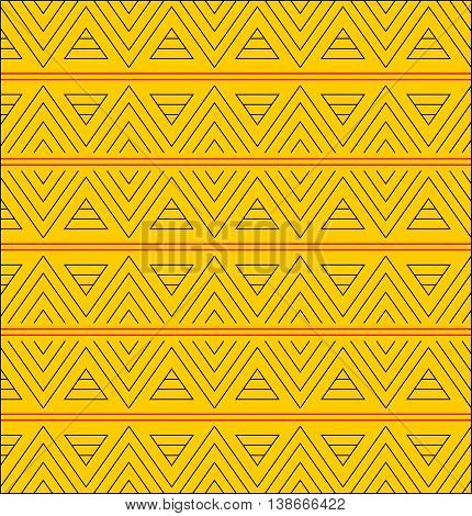 Triangle pattern on orange background seperated with red lines