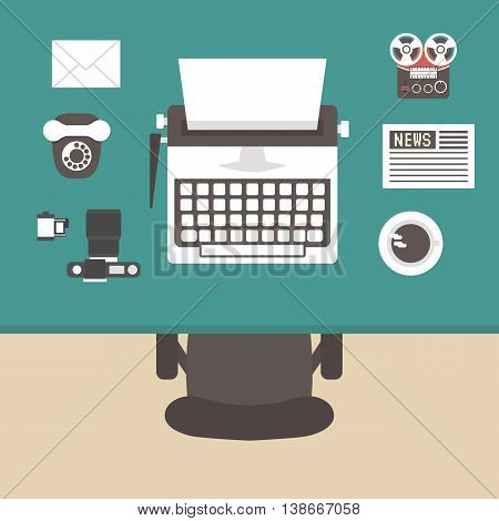 above view workplace with designer gadget retro style