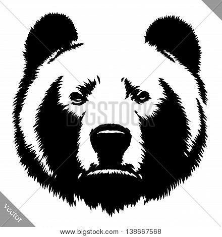 black and white engrave ink draw bear vector illustration
