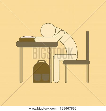 flat icon with thin lines student sleeping at the desk